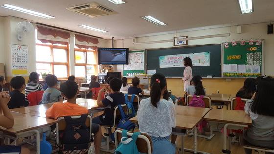 지난 15일 울산 도산초등학교에서 동물매개교육을 하는 모습. 학생들이 유기견 관련 동영상을 보고 있다. 최은경 기자