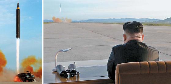 김정은 북한 노동당 위원장이 화성-12형 발사를 현지지도하고 있다. 왼쪽 사진은 화성-12형 발사 장면. 이전과 달리 발사차량에서 직접 쏘며 기동성을 높인 점이 눈에 띈다. [조선중앙통신=연합뉴스]
