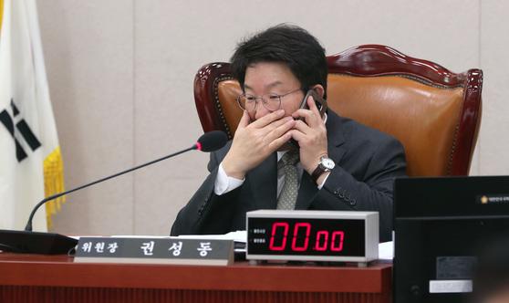 강원랜드 채용 청탁 의혹을 받고 있는 권성동 국회 법제사법위원장. 박종근 기자