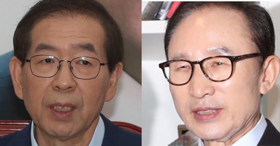 박원순 서울시장(좌)은 19일 이명박 전 대통령(좌)을 고소한다고 밝혔다.[강정현 기자, 중앙포토]