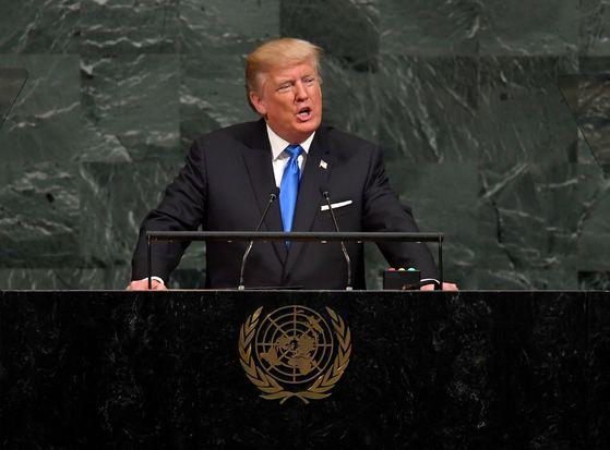 19일 유엔 총회에서 연설하는 트럼프 대통령. [AFP=연합뉴스]