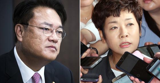 정진석 자유한국당 의원과 방송인 김미화씨. 박종근 기자