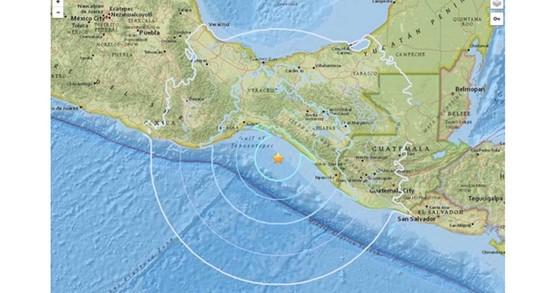 24일(현지시간) 오전 규모 5.7의 지진이 발생한 멕시코 서부 해상[USGS캡처=연합뉴스]