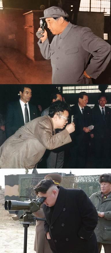 맨 위부터 1966년5월 황해제철소를 방문한 김일성과 1988년4월 8호제강소를 찾은 김정일, 2014년12월 제851군부대관하 여성 방사포병 구분대를 현지지도하는 김정은.[통일문화연구소]