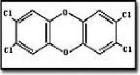다이옥신 가운데 가장 독성이 강한 TCDD의 분자 구조