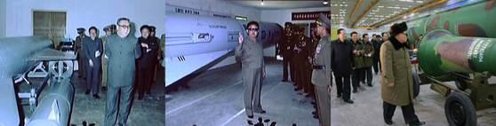 지난 7월 '화성-14형' 시험발사 성공 축하공연 무대에 등장한 김일성과 김정일의 미사일 개발 지도 기록영상. 맨오른쪽은 지난해 3월 핵무기 병기화 사업을 벌이는 김정은.[통일문화연구소]
