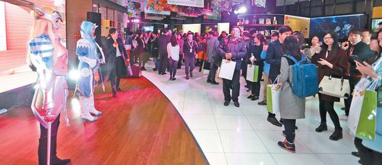 중국 북경비즈니스센터에서 콘텐트 기업 관계자 150여 명이 참석한 가운데 지난 2월 열린 '코리아 콘텐츠데이' 행사의 한 장면. [사진·한국콘텐츠진흥원]