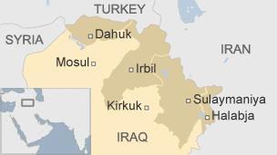 쿠르드 자치정부 지도. 짙게 표시된 부분이 쿠르드 자치정부의 자치 지역이다. [BBC 캡처]