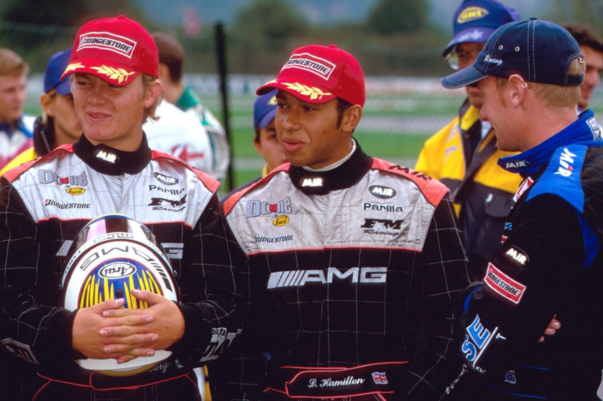 2001년 월드 카트 챔피언십에서도 메르세데스의 팀메이트였던 니코 로즈버그(왼쪽)와 루이스 해밀턴 [사진 Sutton Motorsport Images]