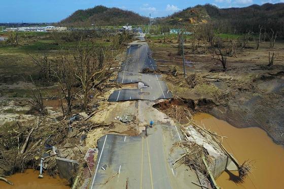 초강력 허리케인 '마리아'가 휩쓴 푸에르토리코. [AFP=연합뉴스]