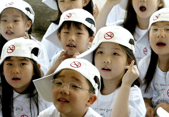 어린이 금연 캠페인에 참여한 어린이들. [중앙포토]