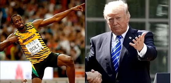 트럼프 미국 대통령이 볼트를 예로 들며 'NFL 무릎꿇기'를 비판했다. 볼트는 2012년 미국 국가가 흘러나오자 인터뷰를 잠시 멈췄다. [사진 유튜브 캡처]