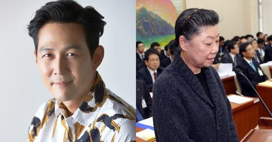 배우 이정재씨(왼쪽)와 이혜경 전 동양그룹 부회장. [중앙포토]