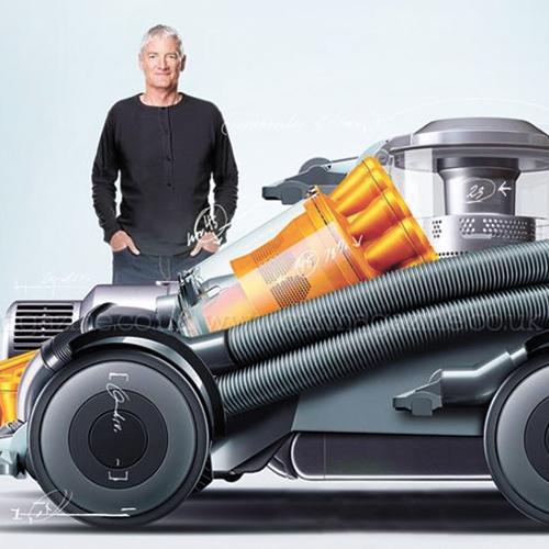 다이슨의 대표 가전제품인 진공청소기를 닮은 전기차 상상도와 제임스 다이슨 대표. [사진 카매거진]
