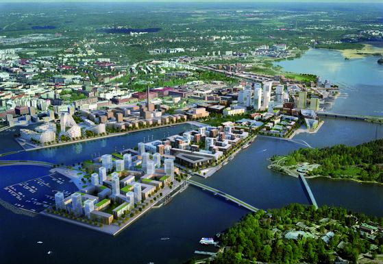 2030년 완공 후 칼라사타마 조감도. 버려진 어항에 스마트시티를 건설하는 프로젝트다.    [헬싱키시]