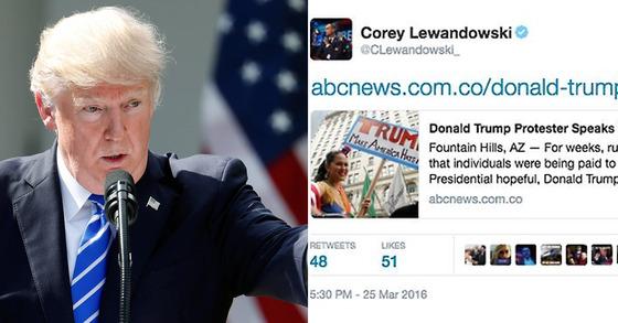트럼프(좌), 폴 호너가 썼던 가짜 뉴스(우). [사진 AP, 트위터 캡처]