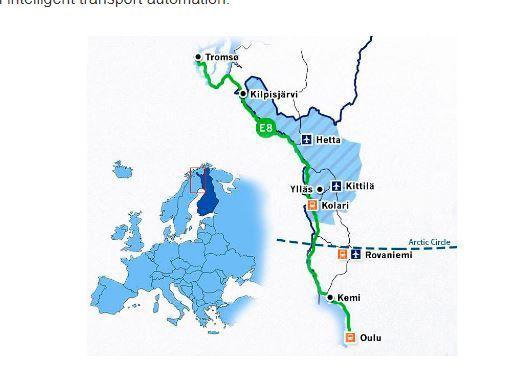 오로라 프로젝트가 진행되고 있는 E8도로.