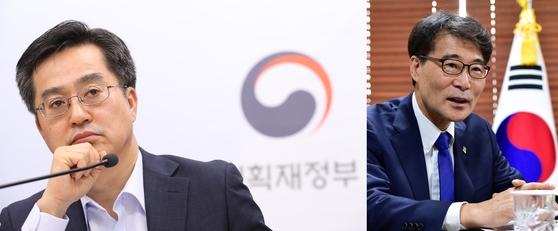 김동연 경제부총리와 장하성 청와대 정책실장 [중앙포토]