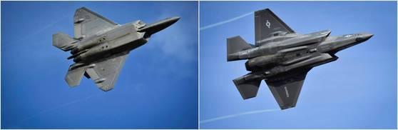 한국으로 순환배치가 거론되는 F-22(왼쪽)과 F-35B [사진=미 태평양사령부]