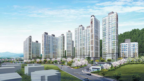 '경남의 판교' 율하지구 인근에 선보이는 브랜드 아파트 '힐스테이트 김해' 투시도.