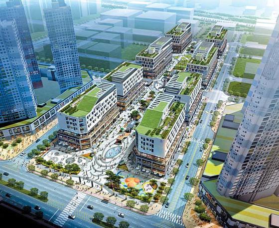 호반건설이 '스트리트 몰'로 짓는 시흥 배곧신도시 아브뉴프랑 센트럴 조감도.