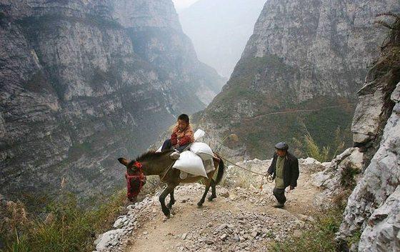 절벽을 타고 등교하는 중국 쓰촨성 구루촌의 아이들. [중앙포토]