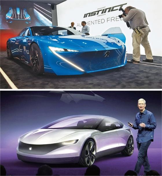 푸조와 삼성전자가 공동개발한 자율주행차 '인스팅트'(위쪽). 애플 CEO 팀쿡이 개발 중인 자율주행차를 설명하고 있다.