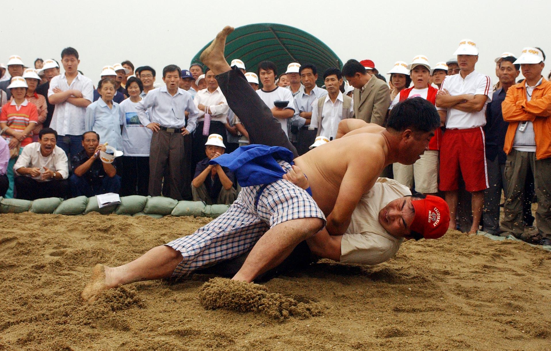 2005년 추석연휴(9월17~19일) 마지막날 서울 여의도 국회 둔치운동장에서 열린 중국 동포 초청 한가위 대축제에 참가한 동포들이 민속 씨름 경기를 하고 있다. [중앙포토]