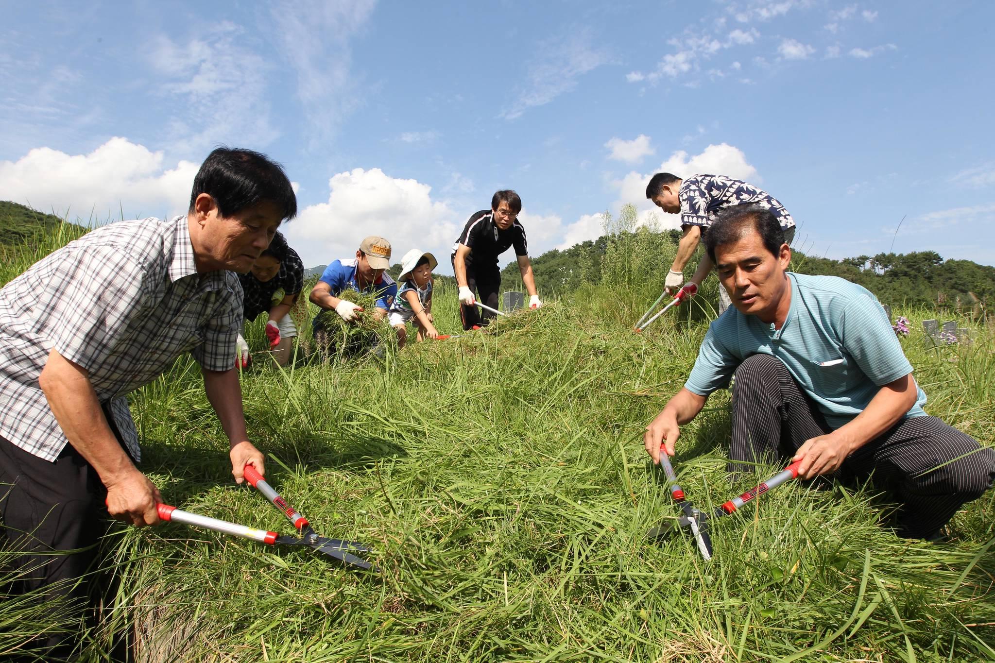 2010년 추석(9월22일)을 앞둔 9월5일 휴일을 맞아 가족이 부산 금정구 영락공원에 안치된 조상의 묘를 찾아 벌초를 하고 있다.송봉근 기자