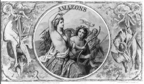 그리스 신화의 아마조네스 부족을 표현한 그림. [출처=위키미디어/미의회도서관 라이브러리, Krohn, Feiss & Co. ]