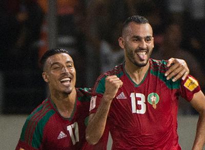 지난 8일 월드컵 예선 가봉전에서 해트트릭을 한 모로코 공격수 부타이브(오른쪽). [AP=연합뉴스]
