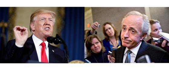 8일 설전을 벌인 도널드 트럼프 대통령(왼쪽)과 밥 코커 공화당 상원 외교위원장. [AP=연합뉴스]