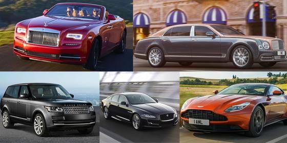 영국에서 탄생한 자동차 브랜드는 모두 해외 기업으로 팔렸다. 사진 왼쪽 위부터 시계방향으로 롤스로이스, 벤틀리, 애스턴마틴, 재규어, 랜드로버. [중앙DB]