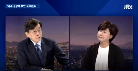 JTBC '뉴스룸' 출연 당시 고(故)김광석 부인 서해순 씨. [JTBC 캡처]