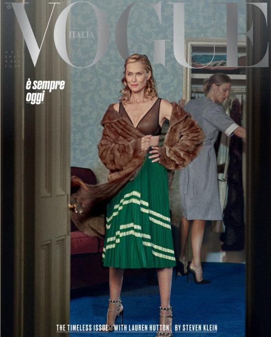 이탈리아 보그 2017년 10월호 표지. 70대의 여배우 여배우 로렌 하트가 표지모델이다. [이탈리아 보그]