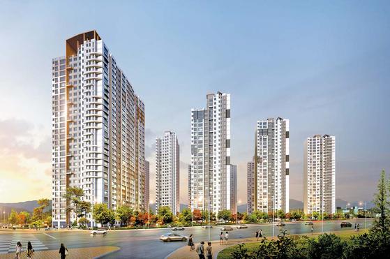 새 아파트 대기수요가 많은 서울 중랑구에 대형 브랜드 아파트가 선뵌다. 이미지는 현대산업개발이 10월 분양 예정인 사가정 센트럴 아이파크 투시도.