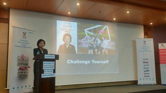 제2회 ASEF Young Leaders Summit에서 기조 연설 중인 모습. [사진 신은경]