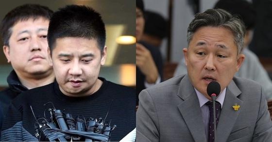 '어금니 아빠' 이영학(왼쪽)과 더불어민주당 표창원 의원. 조문규 기자, 연합뉴스.