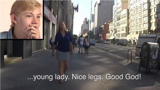 여성이 혼자 길거리를 걸을 때 어떻게 성희롱을 당하는 지 실험한 영상. [사진 유튜브 캡처]