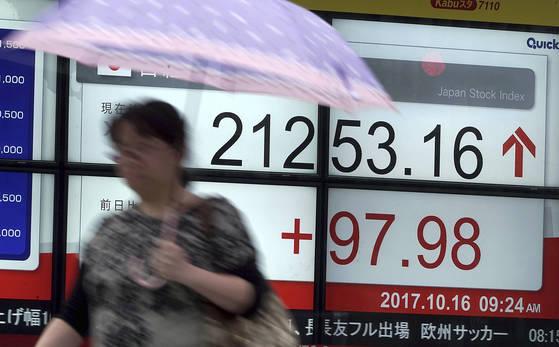 16일 일본 도쿄에서 니케이255 지수를 나타낸 전광판 앞을 한 여성이 지나가고 있다. [AP=연합뉴스]