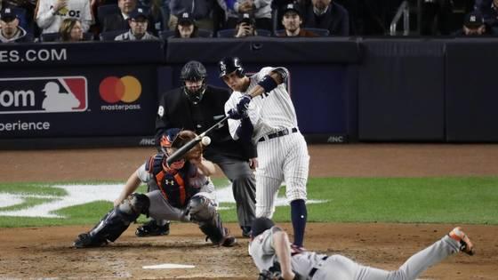 ALCS 3차전에서 4회 말 3점 홈런을 터뜨린 뉴욕 양키스 애런 저지. [AP=연합뉴스]