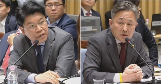 장제원 자유한국당 의원(左)과 표창원 더불어민주당 의원(右). [사진 국회방송 캡처]