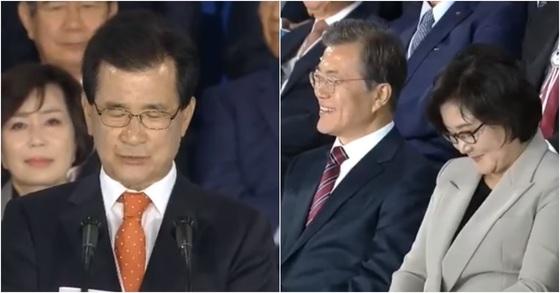 이시종 충북도지사(왼쪽)와 문재인 대통령, 김정숙 여사. [사진 KTV 방송 캡처]