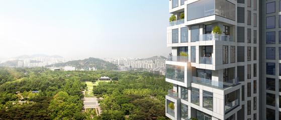 성수동 '아크로 서울포레스트' 20층 이하 가구엔 그린발코니가 설치된다. 9~12㎡ 공간에 화단을 만들 수 있다. [사진 대림산업]