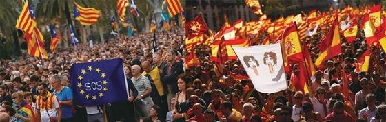카탈루냐 독립을 요구하는 시위대(왼쪽)와 독립을 반대하는 시위대. / 사진:연합뉴스