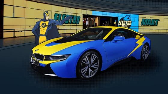 일렉트로마트의 캐릭터 일렉트로맨의 색으로 랩핑한 BMW 하이브로드카 i8