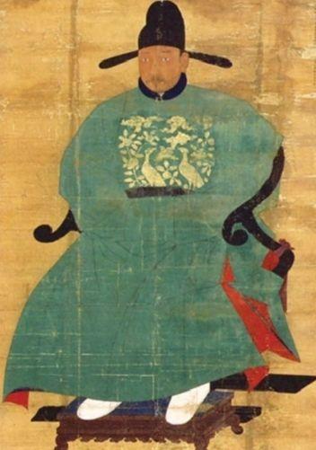 신숙주 초상. 1445년 중국 화공이 그린 것으로 추정된다. 모시 채색, 비단 배접. 보물 613호다. 충북 청주시 가덕면 구봉영당에 봉안돼 있다. 가로·세로 110✕167㎝.