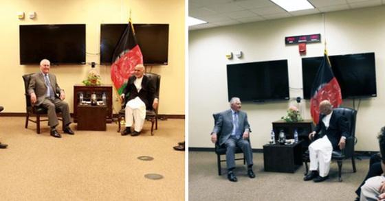 왼쪽부터 아프간 대통령실이 제공한 틸러슨 미 국무장관과 가니 아프간 대통령의 면담 사진, 카불 미 대사관이 트위터에 공개한 면담 사진 [연합뉴스]