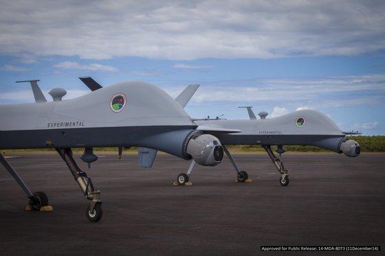 2016년 훈련에서 탄도 미사일 탐지 시험을 했던 Predator B 무인 항공기 [사진 미 국방부]