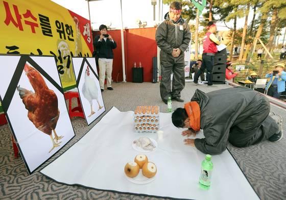 25일 오후 청주시 흥덕구 오송읍 식품의약품안전처 앞에서 열린 '계란 산란일자 표기 철회 요구 결의 대회'에 참석한 양계농민들이 닭 영정 사진을 놓고 절하고 있다. [연합뉴스]